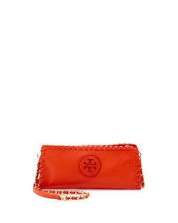 Tory Burch Marion Whipstitch Crossbody Clutch Bag, Orange