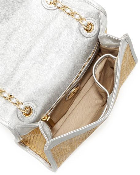 Fleming Metallic Flap Shoulder Bag, Gold