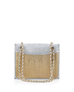 Tory Burch Fleming Metallic Flap Shoulder Bag, Gold