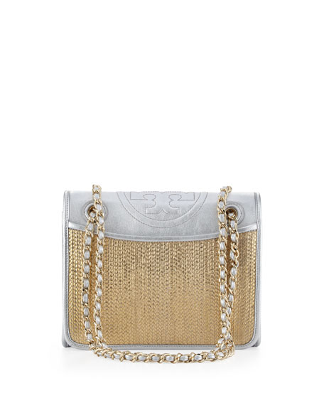 Fleming Metallic Flap Shoulder Bag, Gold