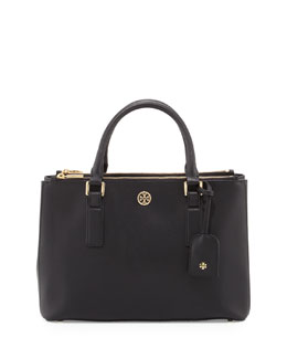 Tory Burch Robinson Mini Double-Zip Tote Bag, Black