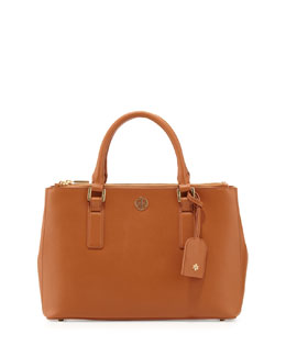Tory Burch Robinson Mini Double-Zip Tote Bag, Luggage