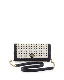 Tory Burch Robinson Basketweave Shoulder Bag/Clutch, White/Navy