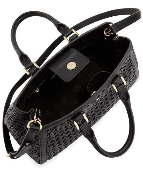 Robinson Woven Triangle Tote Bag, Black