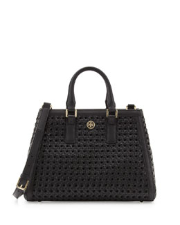 Tory Burch Robinson Woven Triangle Tote Bag, Black