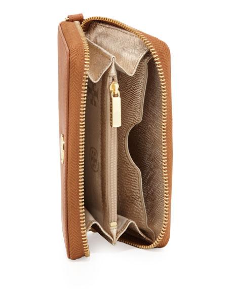 Robinson Saffiano Smartphone Wristlet Wallet, Tan