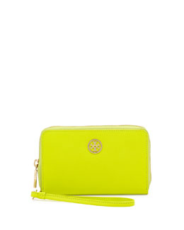 Tory Burch Robinson Smart-Phone Wristlet Wallet, Neon Green