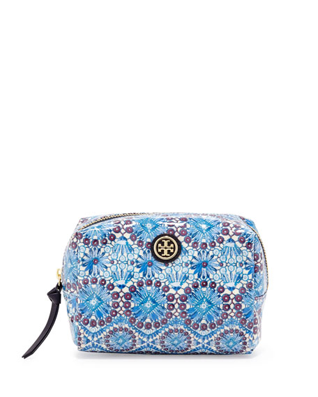 Brigitte Tile-Print Coated Cosmetic Bag, Blue/Multi