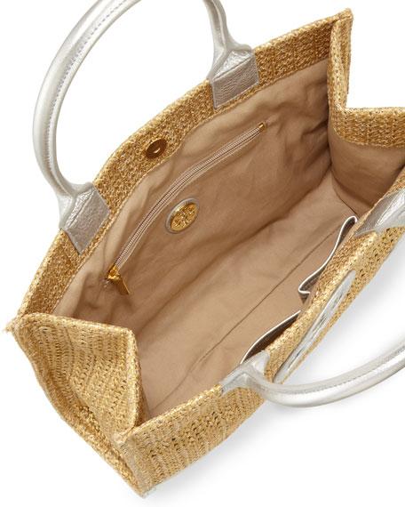 Ella Mini Metallic Straw Tote Bag, Gold