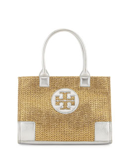 Tory Burch Ella Mini Metallic Straw Tote Bag, Gold