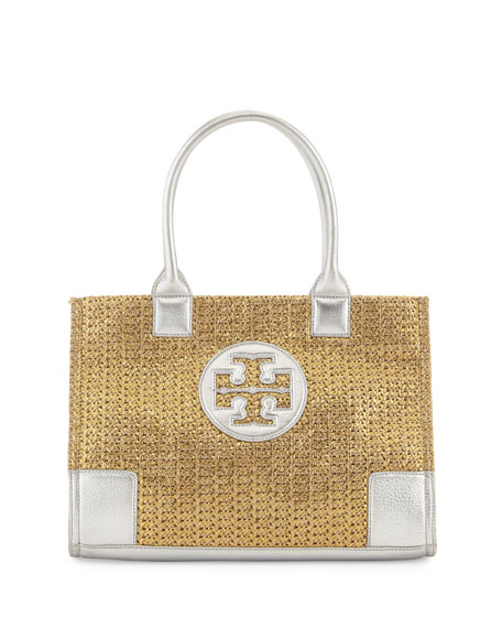 Ella Mini Metallic Straw Tote Bag, Gold