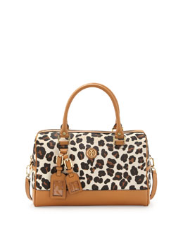 Tory Burch Kerrington Leopard-Print Satchel Bag
