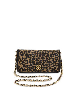 Tory Burch Adalyn Leopard Raffia Clutch Bag, Natural/Black