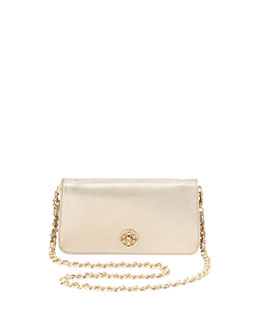 Tory Burch Adalyn Metallic Crossbody Clutch Bag, Gold