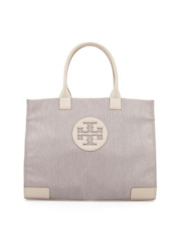 Tory Burch Ella Metallic Nylon Tote Bag, Khaki