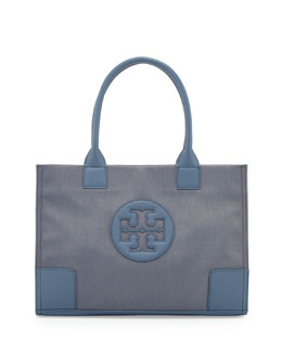 Tory Burch Ella Mini Metallic Nylon Tote Bag, Blue