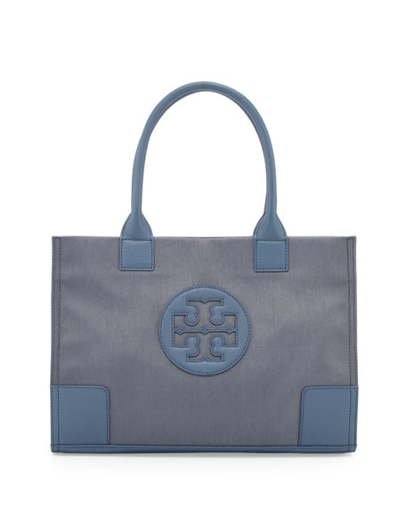 Ella Mini Metallic Nylon Tote Bag, Blue