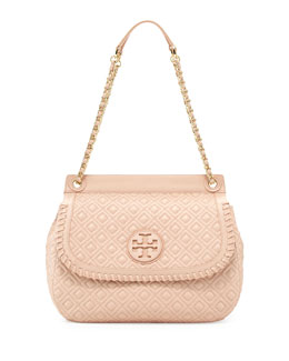 Tory Burch Marion Quilted Leather Saddle Bag, Pink