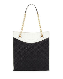Tory Burch Fleming Quilted Box Tote Bag, Black/White