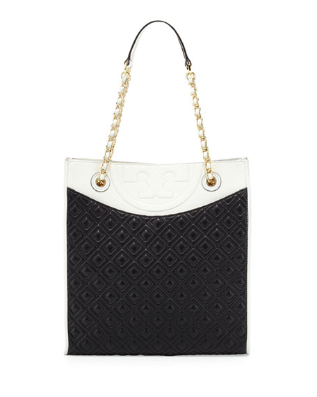 Fleming Quilted Box Tote Bag, Black/White