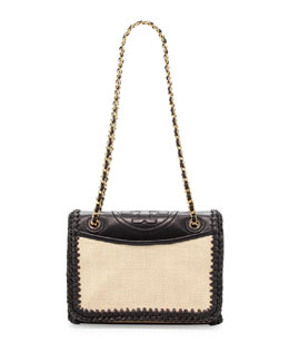 Tory Burch Fleming Crochet Medium Flap Bag, Natural/Black