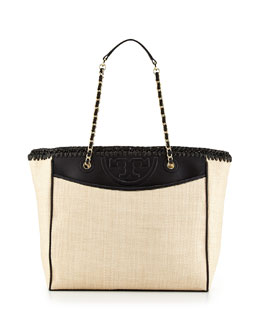 Tory Burch Fleming Straw & Leather Tote Bag, Natural/Black