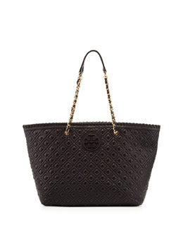 Tory Burch Marion Quilted Small Tote Bag, Black