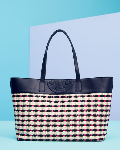 Woven Straw East-West Tote Bag, Navy/Red