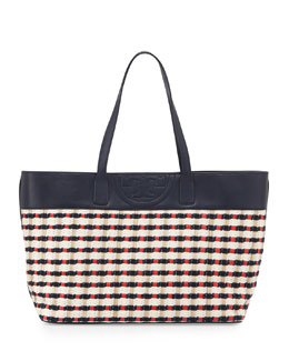 Tory Burch Woven Straw East-West Tote Bag, Navy/Red