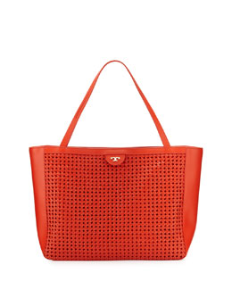 Tory Burch Romi Woven Leather Tote Bag, Red