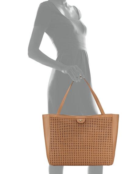 Romi Woven Leather Tote Bag, Tan