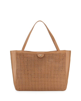 Tory Burch Romi Woven Leather Tote Bag, Tan
