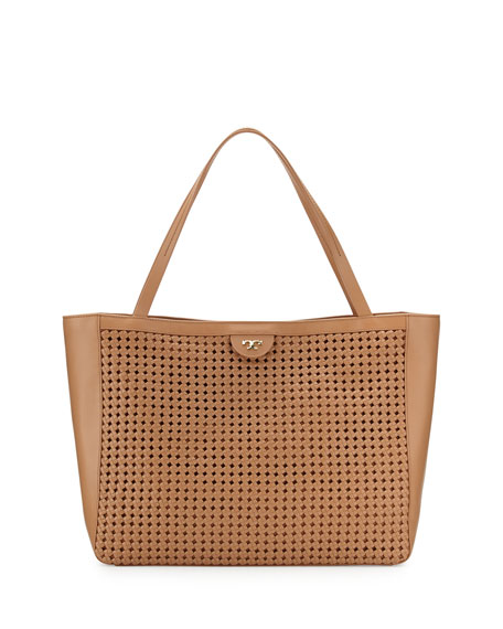 Romi Woven Leather Tote Bag, Tan