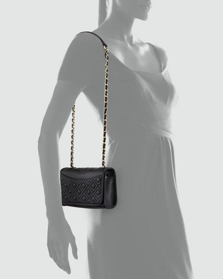 Fleming Quilted Mini Flap Shoulder Bag, Black