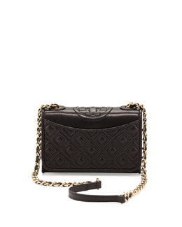 Tory Burch Fleming Quilted Mini Flap Shoulder Bag, Black