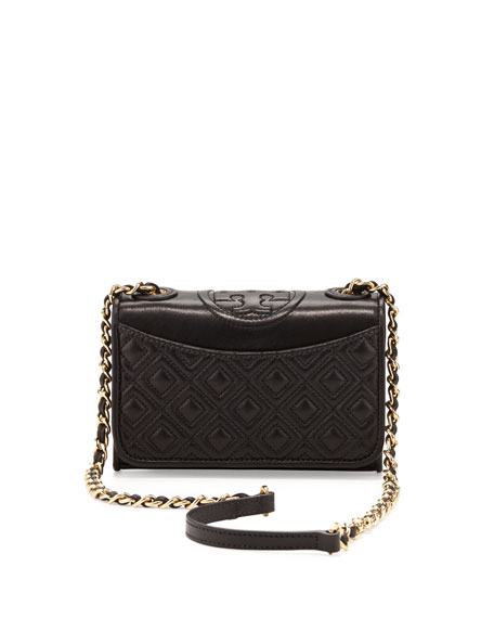 Tory Burch Fleming Quilted Mini Flap Shoulder Bag, Black : tory burch quilted - Adamdwight.com