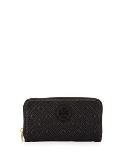 Tory Burch Marion Quilted Continental Zip Wallet, Black