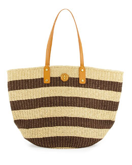 Tory Burch Tyler Striped Straw Tote Bag