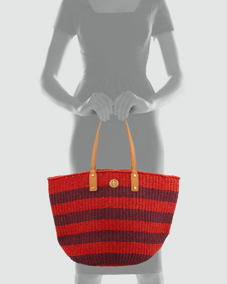 Tyler Striped Straw Tote Bag