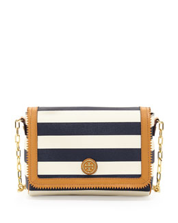 Tory Burch Kerrington Striped Crossbody Bag, Blue/White