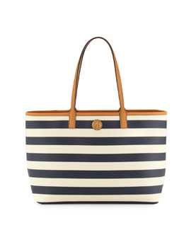 Tory Burch Kerrington Striped Tote Bag, Blue/White