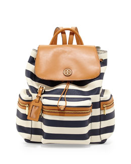 Tory Burch Kerrington Striped Backpack, Blue/White