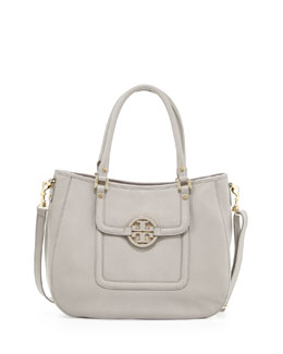 Tory Burch Amanda Pebbled Hobo Bag, Gray