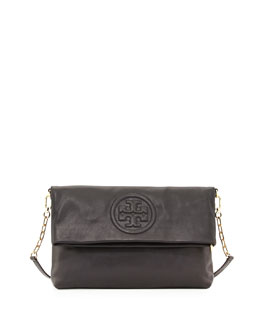 Tory Burch Bombe Fold-Over Crossbody Clutch Bag, Black