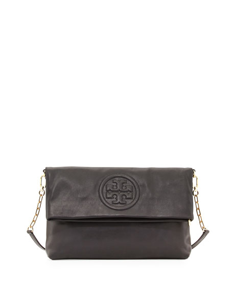 Bombe Fold-Over Crossbody Clutch Bag, Black