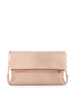 Tory Burch Bombe Fold-Over Crossbody Clutch Bag, Pink
