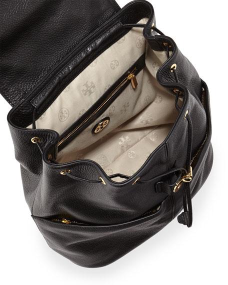 Amanda Medium Leather Backpack, Black