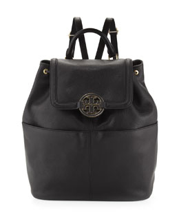 Tory Burch Amanda Medium Leather Backpack, Black