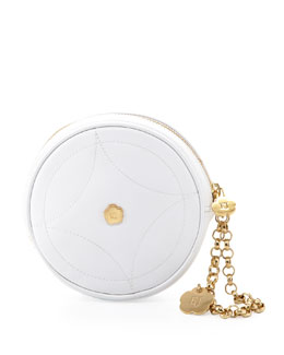 Eric Javits Leather Round Wristlet, White
