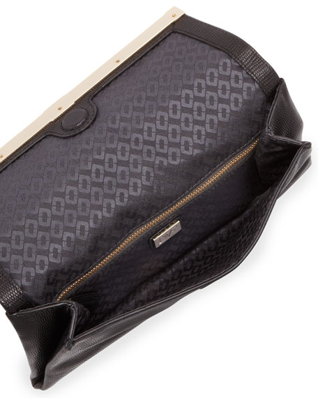 440 Lizard-Embossed Envelope Clutch Bag, Black